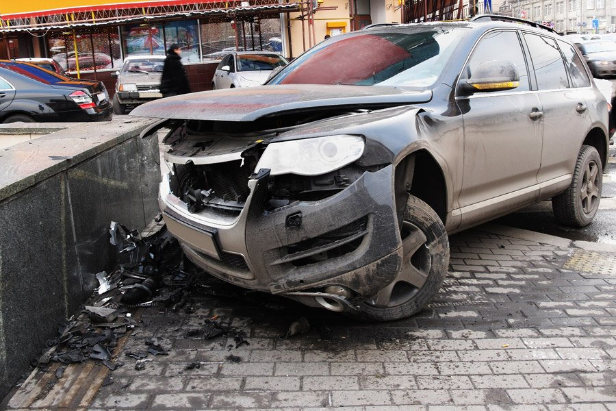 Car that has been damaged in an accident